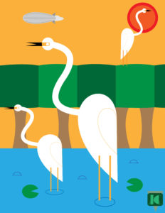 Cranes in a Japanese Art Deco style